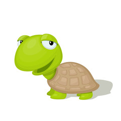 Funny cartoon turtle vector illustration. Animal Zoo concept