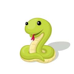 Funny cartoon snake vector illustration. Animal Zoo concept.