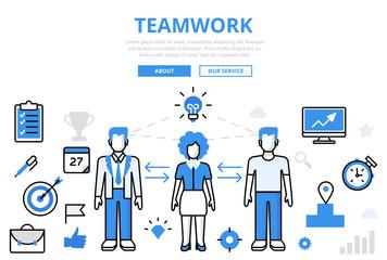 Linear flat TEAMWORK infographics template vector. Business team