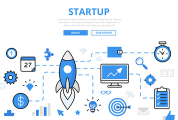 Linear flat STARTUP infographics vector. Successful business