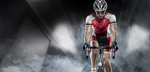 Sport. Cyclist has a traning in the wind tunnel Wall mural