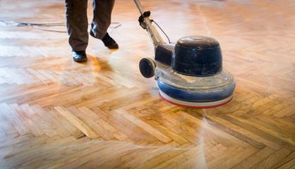 Obraz Home renovation, parquet sanding, polishing - fototapety do salonu