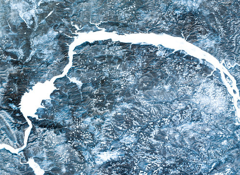 Angara river (winter) from Landsat satellite. Elements of this image furnished by NASA
