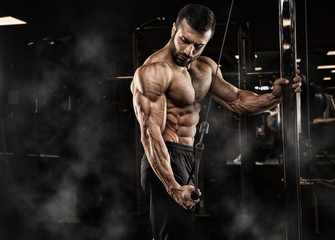 Handsome man with big muscles, posing at the camera in the gym Wall mural
