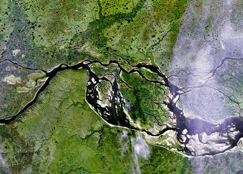 Ob river  from Landsat satellite. Elements of this image furnished by NASA
