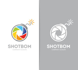 Vector camera shutter and bomb logo combination. Photography and focus symbol or icon. Unique photo and lens logotype design template.