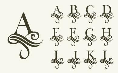 Fototapeta Vintage Set1 . Capital Letter for Monograms and Logos. Beautiful Filigree Font. Victorian Style. obraz