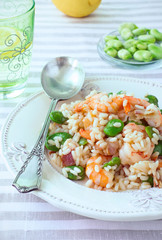 Shrimp Risotto. Rice salad with Shrimp, Broad Beans and Bacon. Best Spring Recipes. Close-up