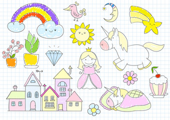 Vector sketches with princess and unicorn