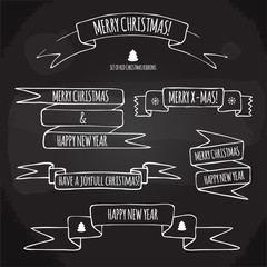 set of Christmas ribbons with holiday greetings hand drawn on a chalkboard