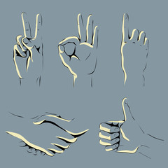 graphic set of hands