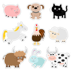 Farm animal set. Pig, dog, cat, cow, rabbit, ship horse, rooster, bull Baby collection. Flat design style. Isolated. White background