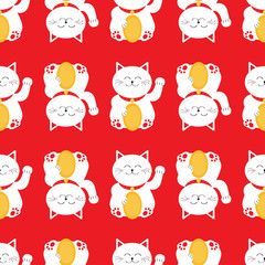 Lucky cat holding golden coin. Japanese Maneki Neco kitten waving hand paw. Seamless line Pattern Cute character. Wrapping paper, textile template. Red background. Flat design.