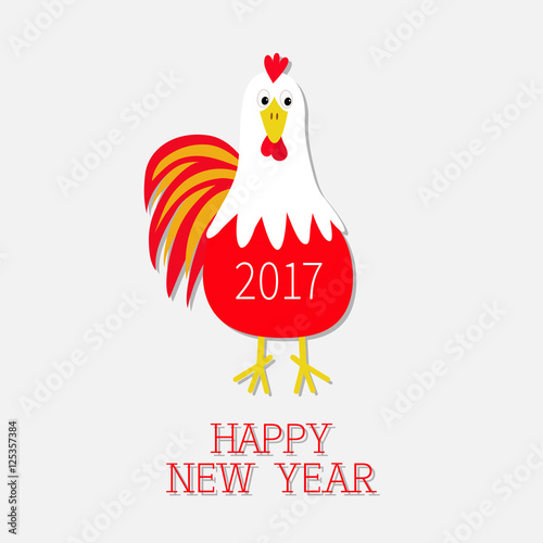 Rooster Cock bird. 2017 Happy New Year text symbol Chinese calendar ...