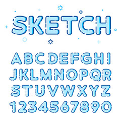 Funny trendy vector font in line-art style with fill.