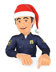 3D Policeman pointing down with a Santa Claus hat. Blank space