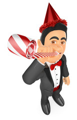 3D Tuxedo man in a party celebration with blower and hat