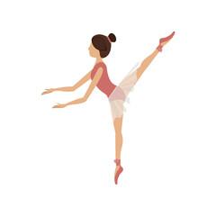 colorful dancer pose fifth arabesque vector illustration