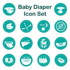 Diaper characteristics icons. Nappy common features set