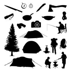Camping Tool Equipment and Activity Silhouette Collection Set