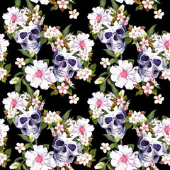 Human skulls, flowers at black background. Seamless pattern. Watercolor