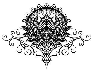 Vector ornamental Lotus flower, ethnic art, patterned Indian paisley