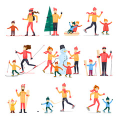 Winter sports with adult children. Family outdoors in winter. Skiing, skating, snowboarding, hockey. Snowman. Characters. Flat design vector illustration.