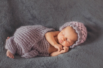 wonderful  newborn baby  sleeping alone