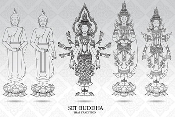 buddha set thai tradition style,pattern background vector
