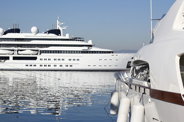Luxury yacht moored on harbor