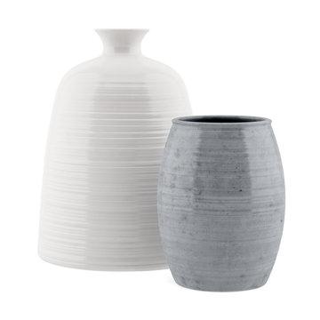 two ceramic vases isolated on white background
