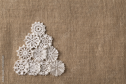 Abstract Christmas Tree Lace Embroid Snowflake Burlap Background