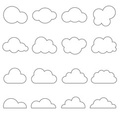 Cloud icon outline set vector, isolated on white background.