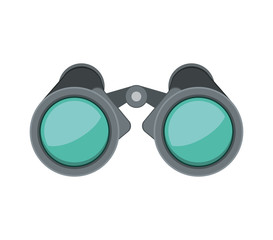 front view binoculars with blue glasses vector illustration