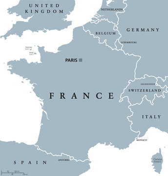 France political map with capital Paris, Corsica, national borders and neighbor countries. Gray illustration with English labeling and scaling on white background. Illustration.