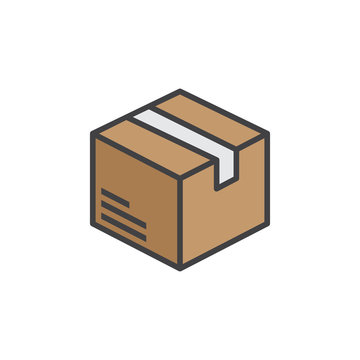 Box, package line icon, filled outline vector sign, linear colorful pictogram isolated on white. logo illustration