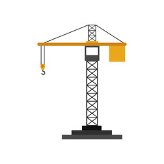 colorfull silhouette construction tower crane vector illustration