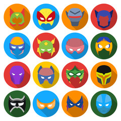 Superhero mask set icons in flat style. Big collection of superhero mask vector symbol stock illustration