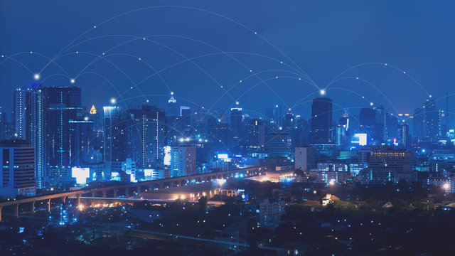 City with connected line, internet of things conceptual
