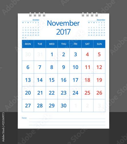 calendar 2017 desk calendar november with october and december