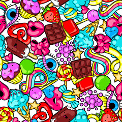 Seamless kawaii pattern with sweets and candies. Crazy sweet-stuff in cartoon style