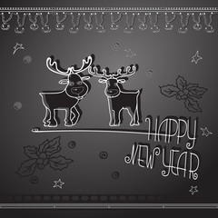 Hand drawn Christmas deers and handwritten words Happy New Year.