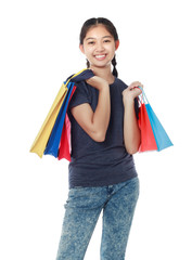 Shopping woman happy smiling holding shopping bags isolated