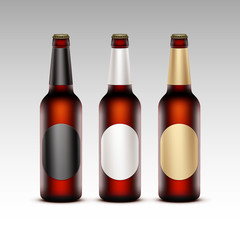 Set of Glass Transparent Brown Bottles Red Beer with labels