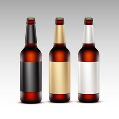 Set of Closed Blank Glass Transparent Brown Bottles Dark Beer