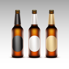 Set of Glass Transparent Bottles with Round labels Light Beer