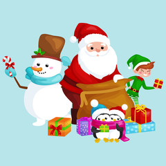 Santa Claus sack full of gifts, snowman candy, decoration ribbons, penguins with presents and elf Vector illustration Merry Christmas and Happy New Year