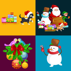 Santa Claus sack full of gifts, snowman candy, decoration ribbons pet dog in hat with presenta in sleigh, penguins elf Vector illustration Merry Christmas and Happy New Year
