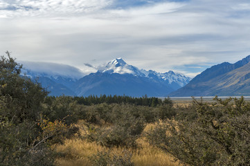 Aoraki / Mount Cook, the highest mountain in New Zealand, and the Tasman River seen from Glentanner Park Centre