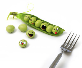Peas. Green pea pods and peas with a fork isolated on white background. Studio photo. Amusing funny and sad peas capsicum characters from the original idea of the concept. Creative.